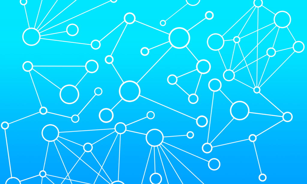 A light blue background show a network of a variety of circles that are interconnected through various lines