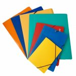 A set of multicolored folders are fanned out over a white background